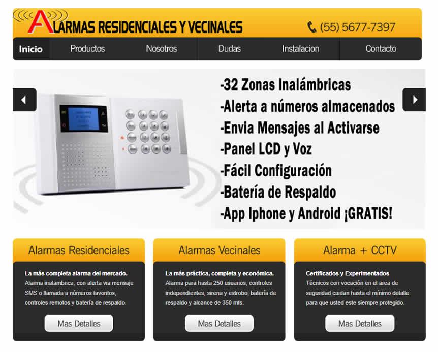 página de alarmas residenciales y vecinales