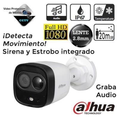Cámara Dahua 1080p con sirena y estrobo integrado