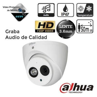 Cámara domo HDCVI 720p 3.6mm IR de 50m