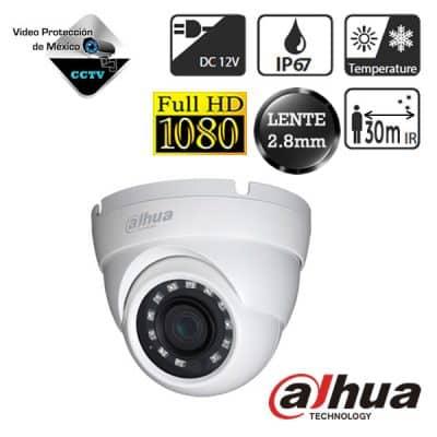 Cámara domo 1080p lente 2.8mm e infrarrojo de 30m