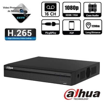 DVR 16 Canales 1080p H265 más 2 canales IP 6MP