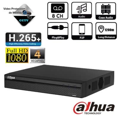 DVR 8 Canales 1080p H265+ 4 canales IP 6MP IVS Audio bidireccional