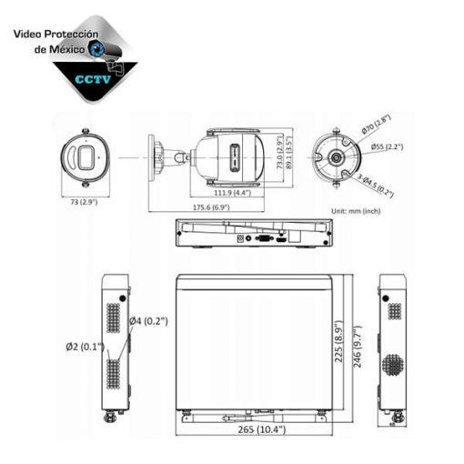 Dimensiones kit de camaras de seguridad wifi