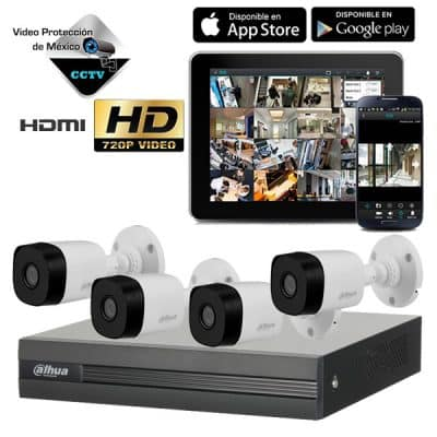 KIT 4 Camaras 720p lente 2.8mm DVR H264