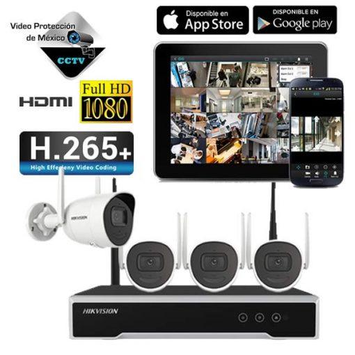 KIT 4 Camaras de Seguridad WiFi 1080p Hikvision