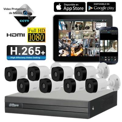 KIT 8 Camaras 1080p DVR y disco duro 2TB