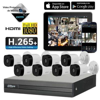 KIT 8 Camaras 1080p DVR y disco duro 2TB