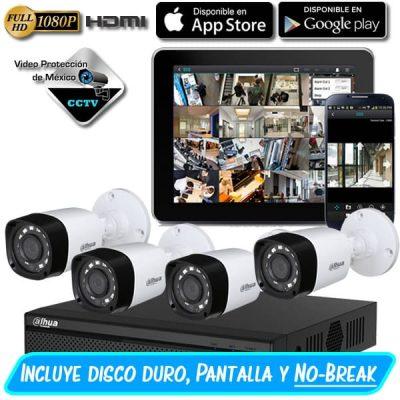 Paquete 4 camaras 1080p pantalla dd nobreak