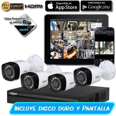 Paquete 4 camaras 1080p pantalla y disco duro