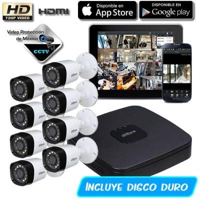 Paquete 8 Camaras de seguridad 720p con dd