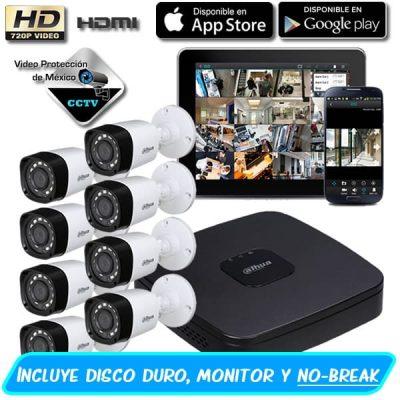 Paquete 8 Camaras 720p con disco duro y monitor